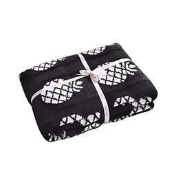 Brandream White and Black Pineapple Kids Crib Blankets Desig