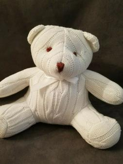 "Elegant Baby White Cable Knit Soft Toy Bear 8"" NWOT"