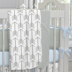 Carousel Designs White and Gray Arrow Crib Blanket