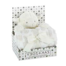 White Lamb Stuffed Animal and Gray Polka Dot Baby Blanket Se