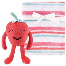 white pink striped baby blanket with strawberry