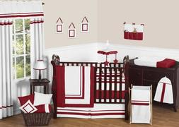 Sweet Jojo Designs 9-Piece White and Red Modern Hotel Unisex