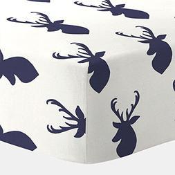 Carousel Designs Windsor Navy Deer Head Crib Sheet