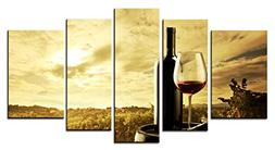 SmartWallArt - Wine Paintings Wall Art Oak Casks and Red Win