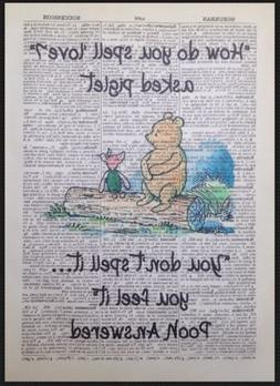 Winnie The Pooh Quote Print Vintage Dictionary Page Picture
