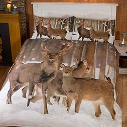 Winter Stag Double/US Full Duvet Cover and Pillowcase Set