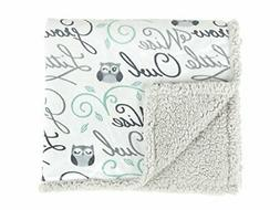 Tadpoles Wise Owl Printed Plush Baby Blanket, Grey