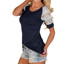 GONKOMA Women Summer Tops Lace Short Sleeve T-Shirt Tee Casu
