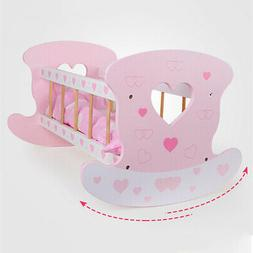 Wooden Rocking Cradle Baby Doll Bedding w/ Pillows Blankets