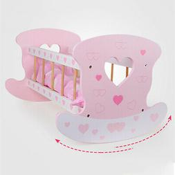 Wooden Sleeping Cradle Baby Doll Bedding Blanket Toy Pretend
