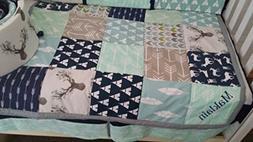 Woodland 1 to 4 Piece baby boy nursery crib bedding Quilt, b