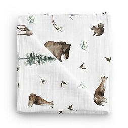 Woodland Baby Muslin Receiving Blanket 47x47 Inch 70% Bamboo
