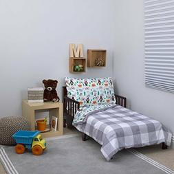 Carter's Woodland Boy 4 Piece Toddler Bedding Set - Grey/ Wh