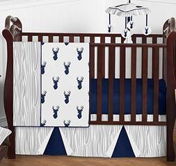 Sweet Jojo Woodland Navy and Gray Deer Baby Boy Bumperless 4