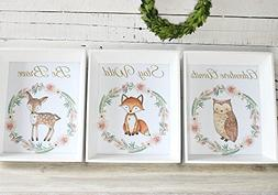 Woodland Nursery Prints, Girl Nursery Art, Woodland Animal D