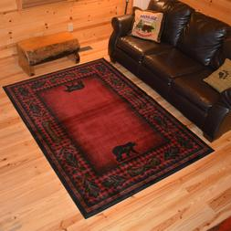 Woodlands Bear Cabin Western Rug Various Sizes and Shapes wi