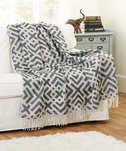 """Wool Blend Throw Blanket with fringe 55x79"""" Woven Jacquard R"""