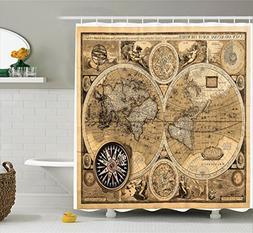 Ambesonne World Map Shower Curtain Set Wanderlust Decor, Old