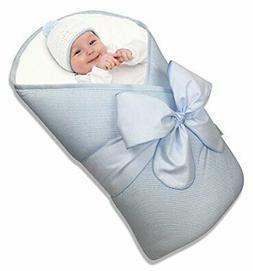 BundleBee Baby WrapSwaddleBlanket, Feather LightBlue, 0-4 Mo