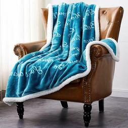 Xmas Gift Soft Fuzzy Warm Cozy Throw Blanket with Sherpa Bac