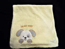 Estex Yellow Baby Blanket 29 x 29 with Picture of Puppy & sa