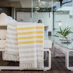 HAVEN & EARTH Yellow & Fog Charcoal Throw Blanket for Couch