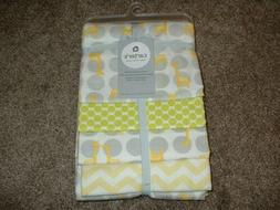Carter's Yellow Giraffe 4 Pack Flannel Receiving Blanket