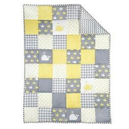 Yellow and Grey Baby Blanket for Newborn Kids - Whale Print