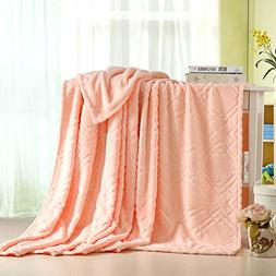 YJ Bear Solid Color Thick Coral Fleece Blanket Super Soft Pl