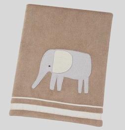 Sadie & Scout Zahara - Brown Elephant Applique Blanket