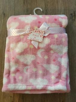ZAK & ZOEY Baby Blanket pink clouds stars Girls Infant Lovey