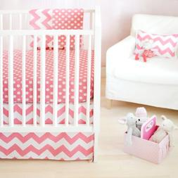 New Arrivals Zig Zag Baby 2 Piece Crib Bedding Set Hot Pink